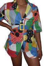 Multi-color Polyester Turndown Collar V Neck Half Sleeve Print Blouses & Shirts