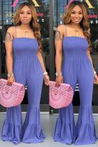 purple Sexy Fashion Draped Solid Polyester Sleeveless Slip