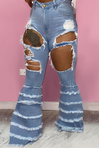 Baby Blue Fashion Sexy Solid Ripped Buttons Pants High Waist Boot Cut Denim
