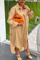 Khaki Fashion Street Adult Chiffon Solid Buttons Turndown Collar Long Sleeve Ankle Length Long Sleeve Dress Dresses