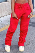 Red Casual Solid Zipper Fold Straight Yes(Elastic) Bottoms