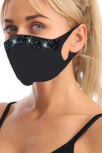 Yellow Black Casual Street Solid Hot Drilling Mask