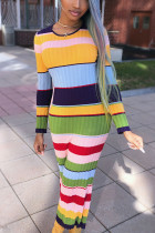 colour Sexy Polyester Striped Print Split Joint O Neck Long Sleeve Ankle Length Pencil Skirt Dresses