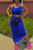 Blue Sexy Casual Solid Split Joint Spaghetti Strap Sleeveless Two Pieces