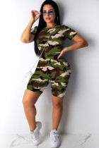 Green Sexy Patchwork Gradient Print Two Piece Suits Camouflage pencil Short Sleeve