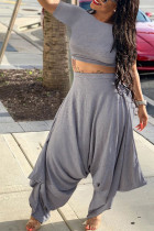 Grey knit Sexy Patchwork Solid backless Straight Short Sleeve Two Pieces