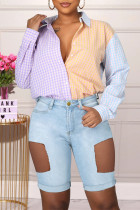 Light Blue Fashion Casual Solid Ripped Hollowed Out High Waist Jeans