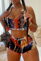 Black Fashion Sexy adult Letter Patchwork Print Character Tie Dye Two Piece Suits pencil Sleeveless Two Pieces