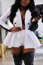 White British Style Polyester Solid Split Joint Turn-back Collar Long Sleeve Mini Long Sleeve Dress Dresses