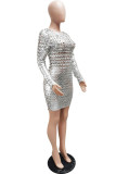 Silver Sexy Solid Hollowed Out Split Joint Fold O Neck Pencil Skirt Dresses