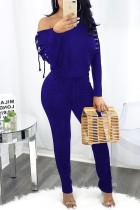 Color Blue Fashion Casual Solid Strap Design Oblique Collar Regular Jumpsuits