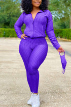 purple Sexy Sportswear Patchwork Zipper Collar Long Sleeve Two Pieces (With Mask)