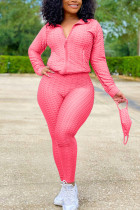rose red Sexy Sportswear Patchwork Zipper Collar Long Sleeve Two Pieces (With Mask)