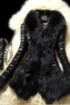 Black Fashion Patchwork Long Sleeves Faux Fur Coat