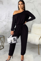 Black Sexy Solid Polyester Long Sleeve one shoulder collar