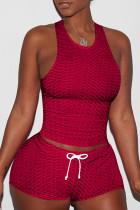 Burgundy Sexy Sportswear Solid Split Joint Spaghetti Strap Sleeveless Two Pieces
