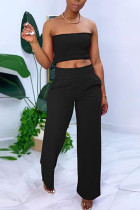 Black Chlorine Fashion Casual adult Ma'am Solid Two Piece Suits Straight Sleeveless Two Pieces