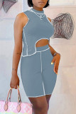 Grey Fashion Casual Solid Split Joint Asymmetrical Half A Turtleneck Sleeveless Two Pieces
