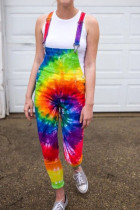 colour Fashion street Print Tie-dyed Polyester Sleeveless Slip Jumpsuits
