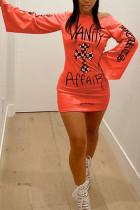 Orange Fashion Street Adult Polyester Print Letter Oblique Collar Long Sleeve Mini Printed Dress Dresses
