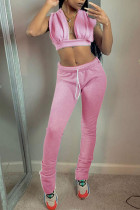Pink Sexy Polyester Solid Draw String Sleeveless Tank Two Pieces