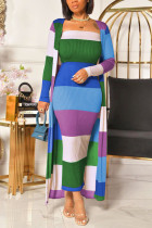 Blue Sexy Striped O Neck Long Sleeve Two Pieces