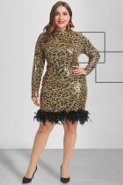 Yellow Polyester Fashion adult Sexy O Neck Zippered Patchwork Sequin Leopard Print Feathers