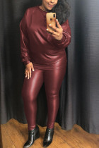 Wine Red Casual Polyester Faux Leather Patchwork Solid Split Joint Pullovers Pants O Neck Long Sleeve Regular Sleeve Two Pieces