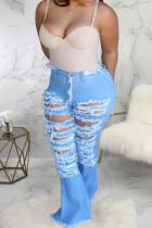Light Blue Denim Zipper Fly High Hole washing Boot Cut Pants Bottoms