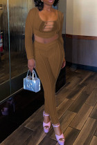 Coffee Sexy Solid Split Joint Mesh U Neck Long Sleeve Two Pieces