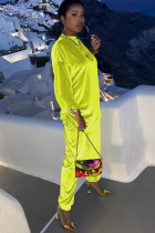 Fluorescent Yellow Chlorine Casual Patchwork Two Piece Suits Solid Straight Long Sleeve