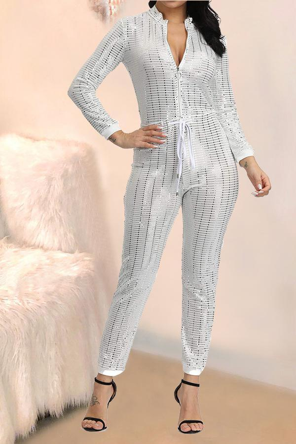 White Sexy Fashion zipper Sequin Chlorine Long Sleeve O Neck Jumpsuits