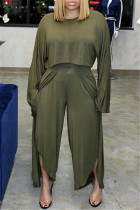 Green Fashion Casual Solid Split Joint Slit Oblique Collar Long Sleeve Two Pieces