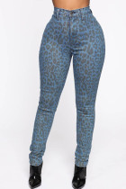 multicolor Polyester Zipper Fly Button Fly High Print Leopard Straight Pants Pants