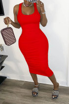 Red Polyester Fashion Sexy adult White Red Black Yellow Tank Sleeveless Square Step Skirt Mid-Calf Patchwork bandage Solid hollow out Dresses