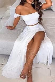 White Milk Silk Fashion Sexy adult Ma'am Solid Two Piece Suits A-line skirt Sleeveless Two Pieces