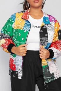 Multicolor Sportswear Print Split Joint Turndown Collar Plus Size