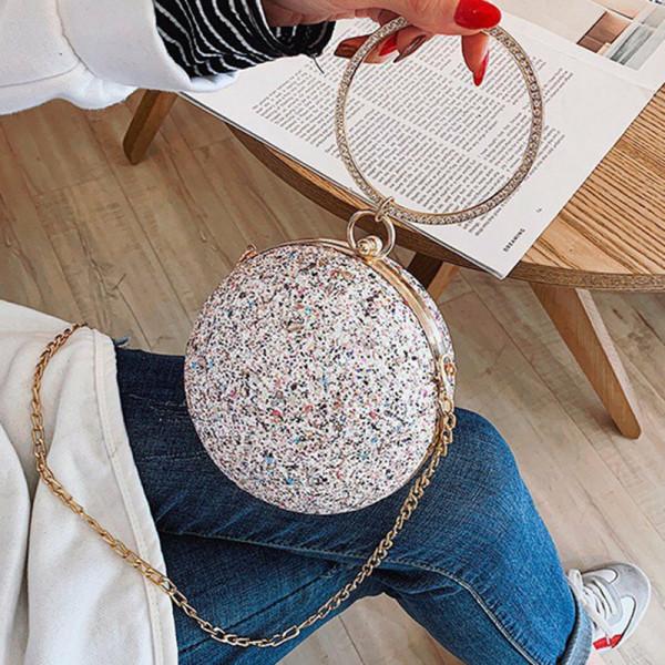 White Fashion Patchwork Round Crossbody Bag