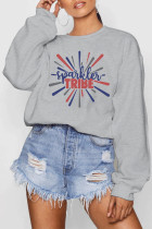 Grey Polyester O Neck Long Sleeve Letter Patchwork Print Burn-out Tops