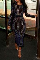 Black Sexy Long Sleeves O neck Slim Dress Ankle-Length diamonds