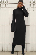 Black Polyester Sexy Bell sleeve Long Sleeves Turtleneck Step Skirt Mid-Calf asymmetrical Solid Patchwork