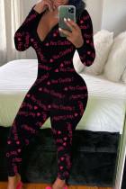 Pink Fashion Adult Living Print V Neck Skinny Jumpsuits