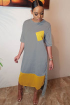 Grey Polyester Fashion Casual Cap Sleeve Half Sleeves O neck Straight Mid-Calf Pocket Patchwork Print