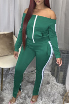 Green Sexy Twilled Satin Solid Split Joint Bateau Neck Long Sleeve Two Pieces
