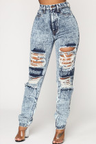 Grey Denim Zipper Fly Button Fly Mid washing Hole Zippered Pocket Skinny Pants Pants