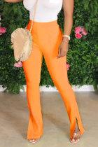 Orange White Black Pink Orange Light Blue Fluorescent Yellow Polyester Elastic Fly Sleeveless High Patchwork Solid Split Straight Pants Bottoms