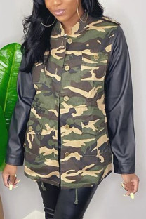 Camouflage Casual Patchwork Mandarin Collar Outerwear