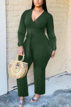 Green Fashion Sexy Solid Polyester Long Sleeve V Neck Jumpsuits
