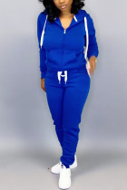 Blue Casual Solid Two Piece Suits pencil Long Sleeve Two-piece Pants Set