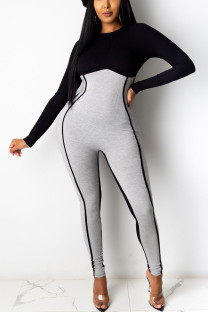 Black Gray Sexy Solid Split Joint O Neck Skinny Jumpsuits